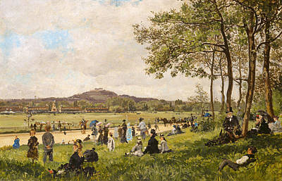 Race Horse Painting - Race Course At Longchamps by Mountain Dreams
