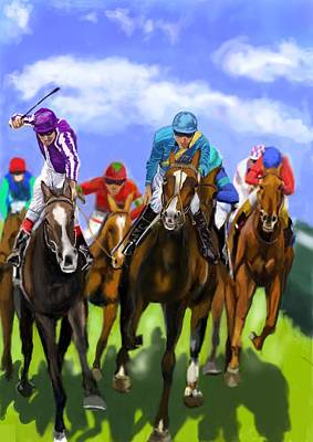 Racetrack Digital Art - Race Day by Lincoln Howes