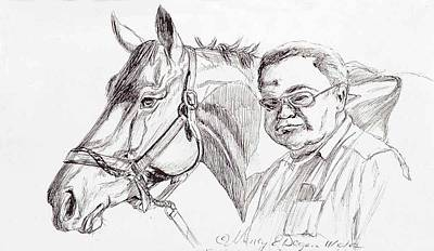 Race Horse And Owner Art Print by Nancy Degan