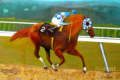 Horse Race Painting - Race Horse Secretariat Triple Crown Winner 1973 Original Oil Painting  by Anthony Morretta