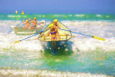 Row Boat Digital Art - Race Is On 2 Lifeboat Race Watercolor by Scott Campbell