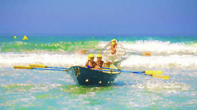 Row Boat Digital Art - Race Is On 3 Lifeboat Race Watercolor by Scott Campbell