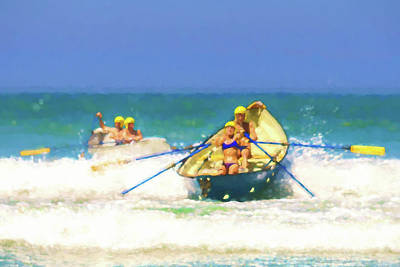 Row Boat Digital Art - Race Is On Lifeboat Race Watercolor by Scott Campbell