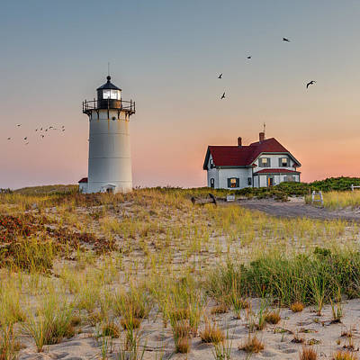 Race Point Light Cape Cod Square Art Print by Bill Wakeley