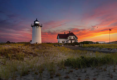 Photograph - Race Point Light Sunset 2015 by Bill Wakeley