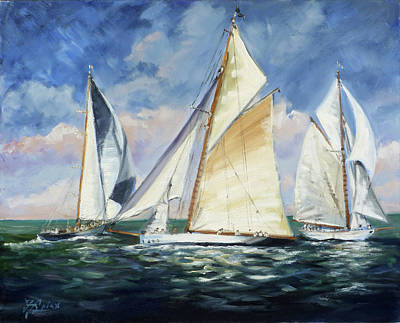 Yacht Painting - Race - Sails 11 by Irek Szelag
