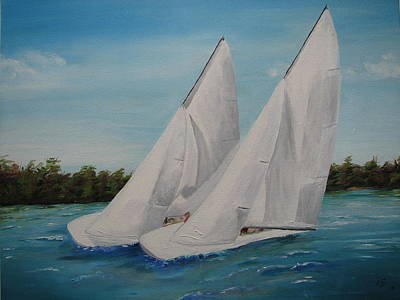 Scow Painting - Race To The Finish by Ann Szeplaki