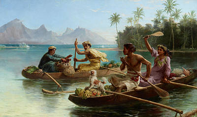 Painting - Race To The Market, Tahiti  by Nicholas Chevalier