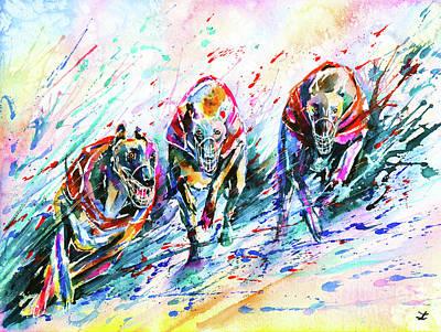 Greyhound Races Painting - Race by Zaira Dzhaubaeva