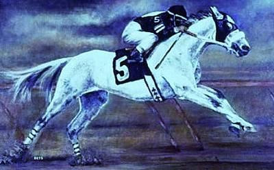 Racehorse 5 Blue Art Print