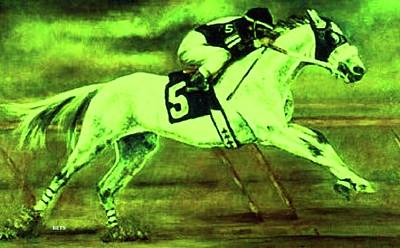 Racehorse 5 Green Yellow Art Print by Bets Klieger
