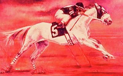 Racehorse 5 Pink Art Print