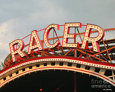 Neon Digital Art - Racer Coaster Kennywood Park by Jim Zahniser