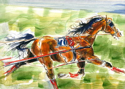 Art Print featuring the painting Racer by Mary Armstrong