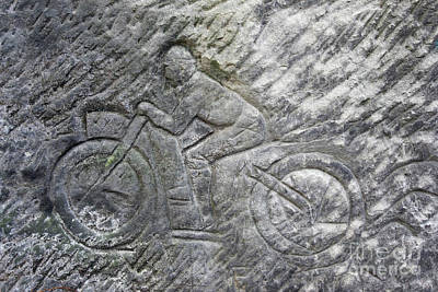 Racer On A Motorbike - Old Rock Relief Art Print