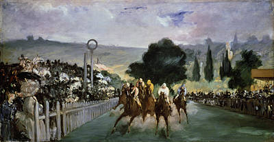Excitement Painting - Races At Longchamp by Edouard Manet