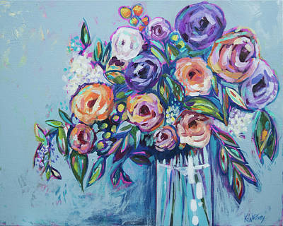 Purple Flowers Painting - Rachael's Wedding by Kristin Whitney