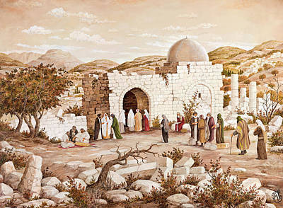 Rachel's Tomb Pilgrims Print by Aryeh Weiss