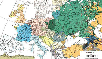 Europe Drawing - Racial Map Of Europe Circa 1923 by European School