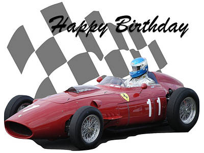 Photograph - Racing Car Birthday Card 2 by John Colley
