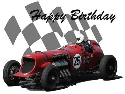 Photograph - Racing Car Birthday Card 3 by John Colley