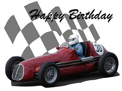 Photograph - Racing Car Birthday Card 6 by John Colley