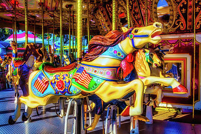 Racing Carrousel Horse Art Print
