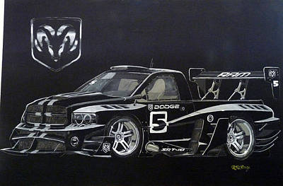 Painting - Racing Dodge Pickup by Richard Le Page