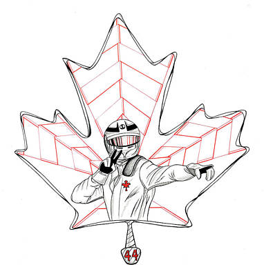 Maple Leaf Art Drawing - Racing For Gold In Canada by Adam Campbell