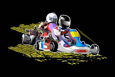 Go Kart Wall Art - Drawing - Racing Go Kart by Victoria Sinkevych