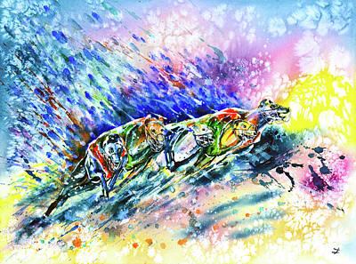 Painting - Racing Greyhounds by Zaira Dzhaubaeva