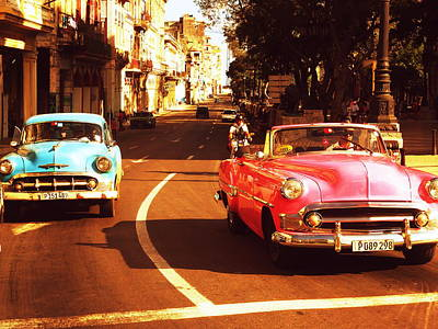 Photograph - Racing Havana Cuba In American Vintage Cars by Funkpix Photo Hunter