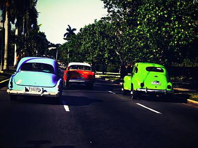 Photograph - Racing Havana Cuba In Classic American Cars  by Funkpix Photo Hunter