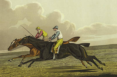 Running Horses Drawing - Racing by Henry Thomas Alken