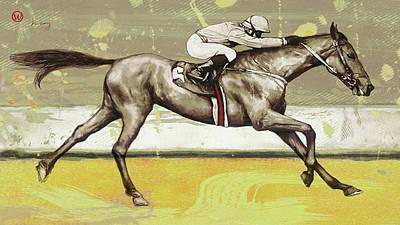 Abstract Horses Mixed Media - Racing Horse Pop Art Poser by Kim Wang