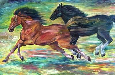 Painting - Racing Horses by Manuel Cadag
