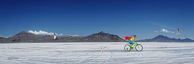 Racing On The Bonneville Salt Flats Art Print