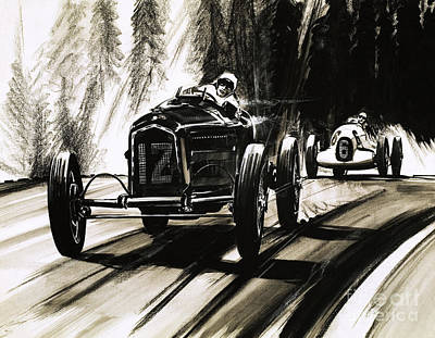 Racing On The Nurburgring Art Print by English School