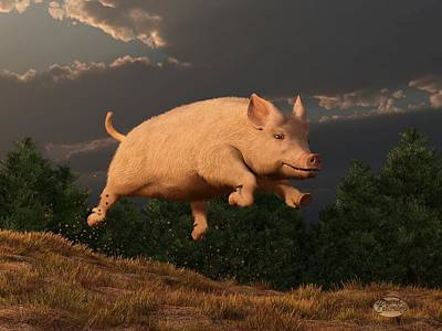 Barns Digital Art - Racing Pig by Daniel Eskridge