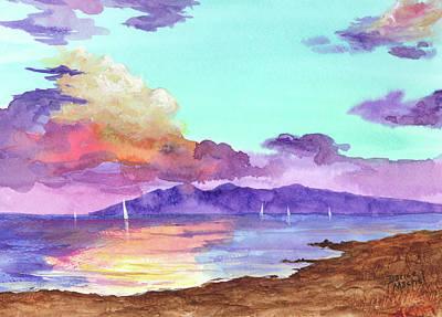 Ocean Painting - Racing Sailboats by Darice Machel McGuire