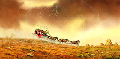 Stagecoach Painting - Racing The Storm by Don Griffiths