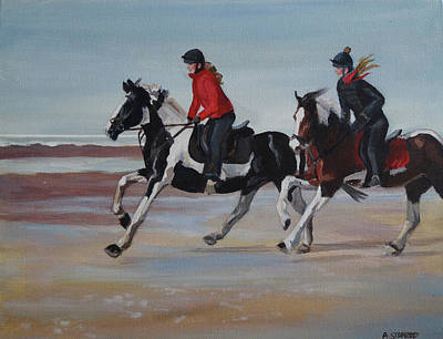 Wall Art - Painting - Racing The Tide by Alison Stafford