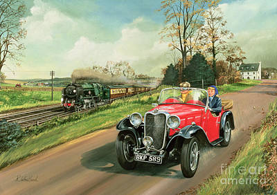 Old Cars Painting - Racing The Train by Richard Wheatland