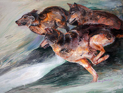 Pack Animal Mixed Media - Racing The Wind by Sherry Shipley