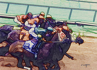 Race Horse Digital Art - Racing To The Finish Line by Arline Wagner