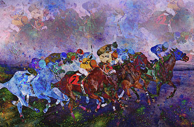 Race Horse Digital Art - Racing With Ghosts by Betsy Knapp