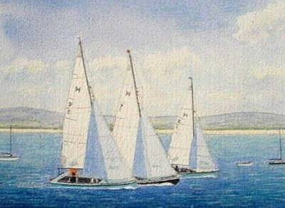 Painting - Racing Yachts - Dee Estuary by Peter Farrow