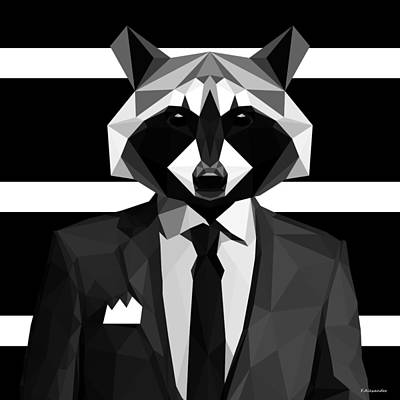 Raccoon Digital Art - Racoon by Gallini Design