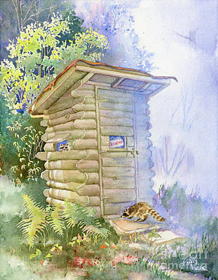 Northwoods Painting - Racoons In Outhouse by Gail Vass