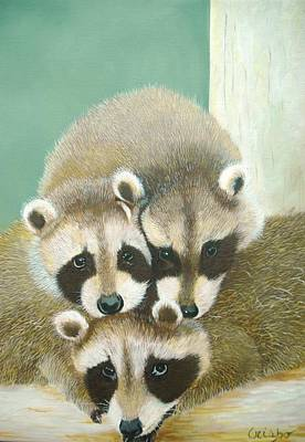 Painting - Racoons by Jean Yves Crispo